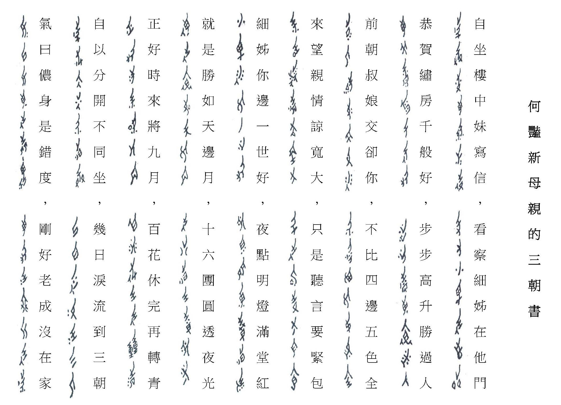 女書與漢字的對照圖│劉斐玟