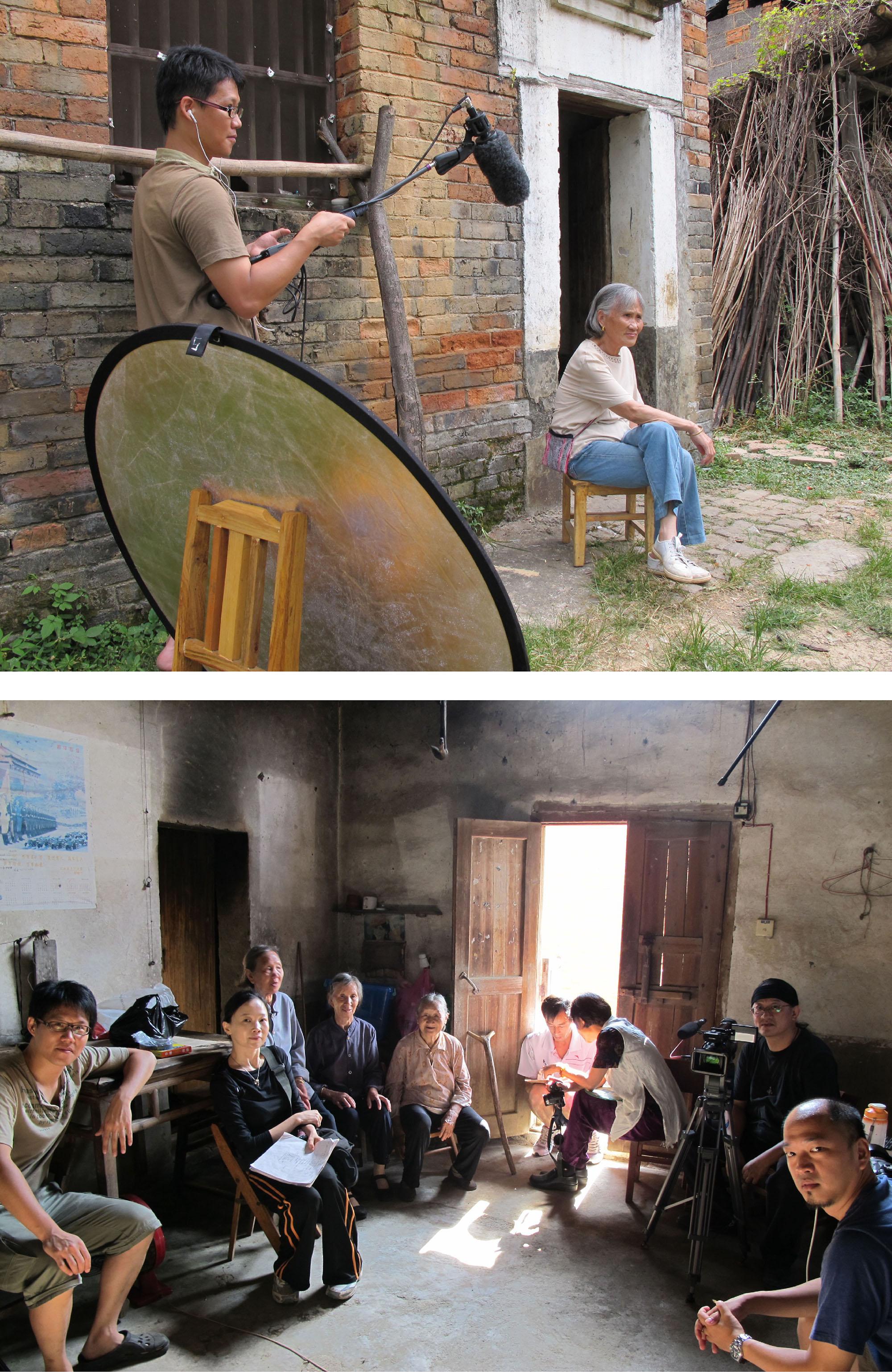 劉斐玟與郭昱沂導演、攝影團隊,前往江永拍攝紀錄片《女書回生》。因為預算少,團隊幾乎全自掏腰包完成拍攝,只因他們皆有著共同使命感,希望能為那些故事、那些歌聲、那群婦女,留下影音紀錄。圖片來源│劉斐玟