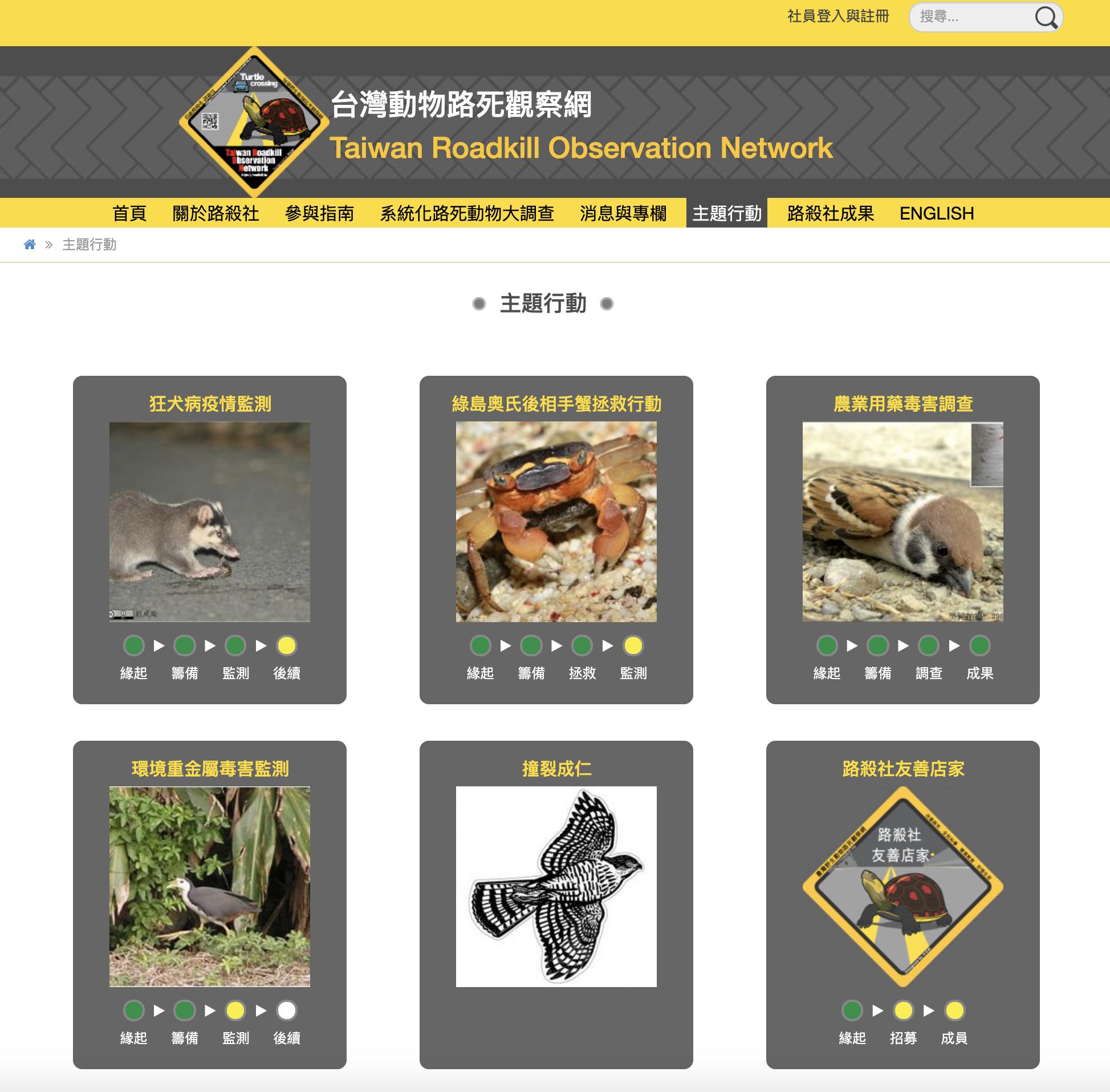 「台灣動物路死觀察網」 (Taiwan Roadkill Observation Network)目前的功能與介面已很完整。特生中心與中研院資訊所的合作計畫進行了四年,在後期莊庭瑞做了決定,持續調整資料流程,但把網站製作與維護的工作委託給拾穗者文化的張藝鴻。如此一來,在合作計畫結束之後,仍能保障網站的經營維護與永續發展。 圖片來源│台灣動物路死觀察網