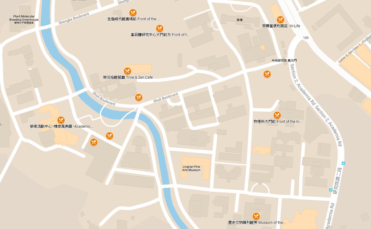 「互動地圖」中選取餐飲資訊,便能看見有刀叉標示的地點。圖片來源│院區開放活動網站