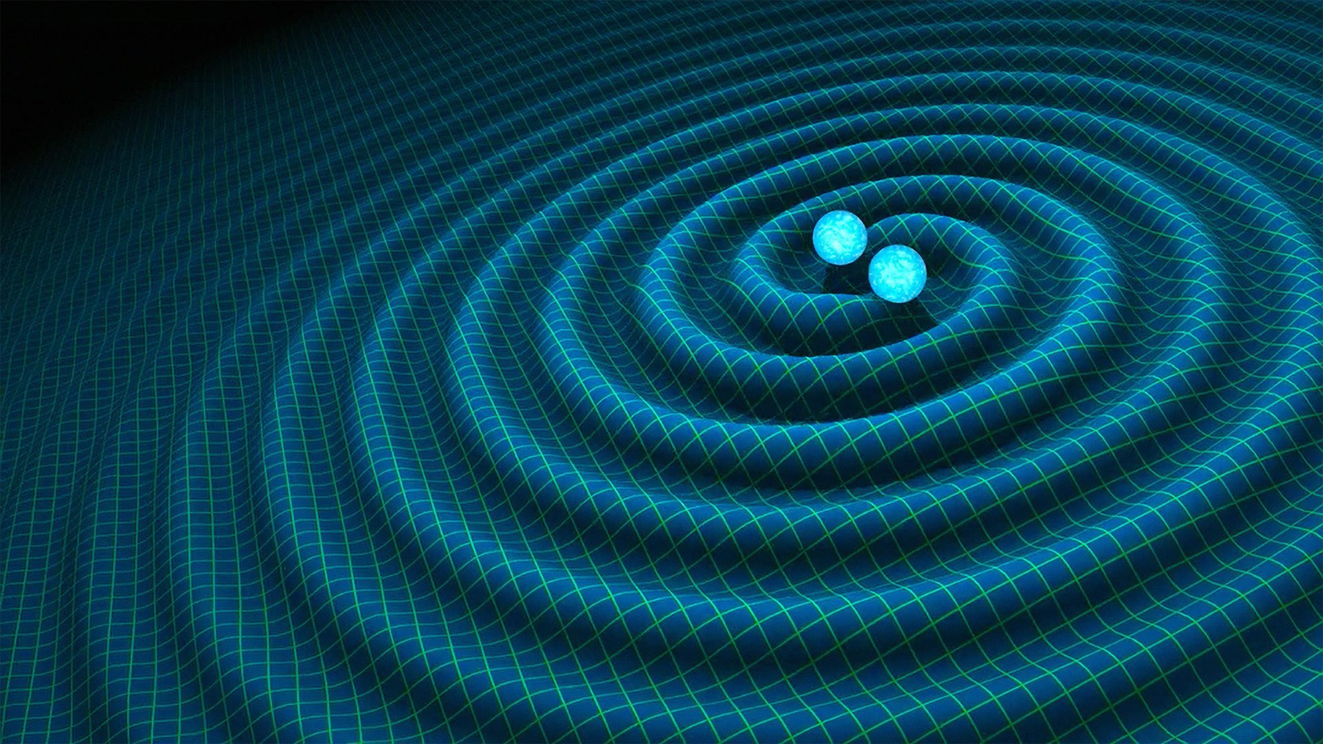 重力波示意圖。當物體加速度前進時 (如兩個超大質量星體互繞),會使空間的扭曲發生變化、產生「漣漪」,這就是「重力波」。圖片來源│R. Hurt/Caltech-JPL