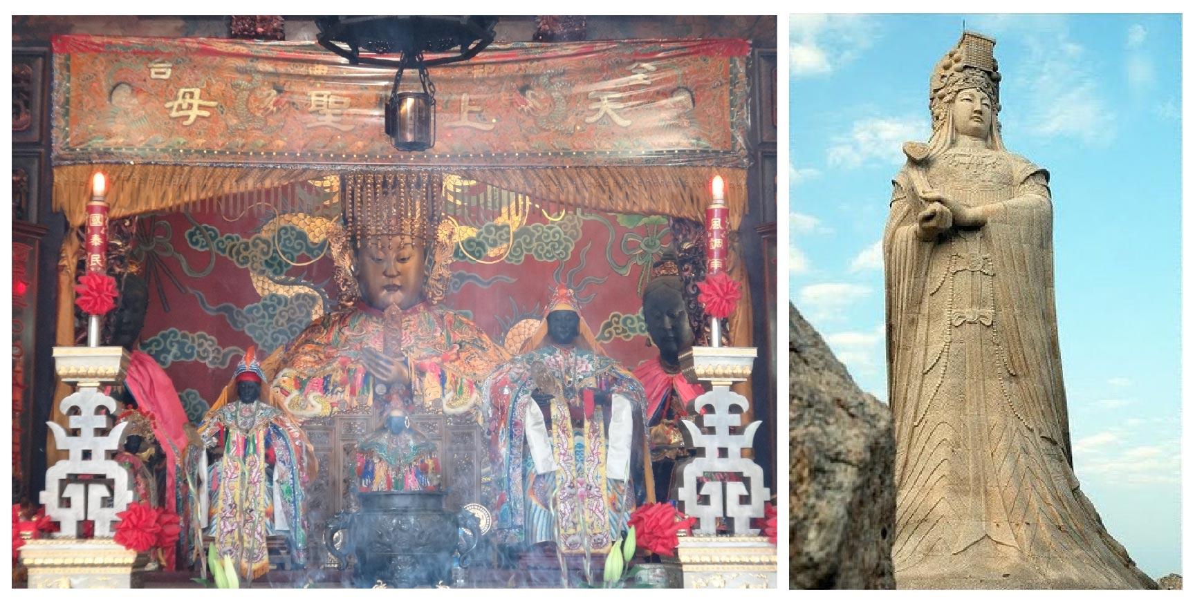 臺南大天后宮的金面媽祖像(左)與福建湄洲島的媽祖雕像(右)。臺灣媽祖神像多半是婦女貌,垂眼坐姿,符合古代朝廷冊封的天后禮制;中國版則偏向少女貌,造型也較現代感,比較少傳統型貌的神像。圖│Wiki