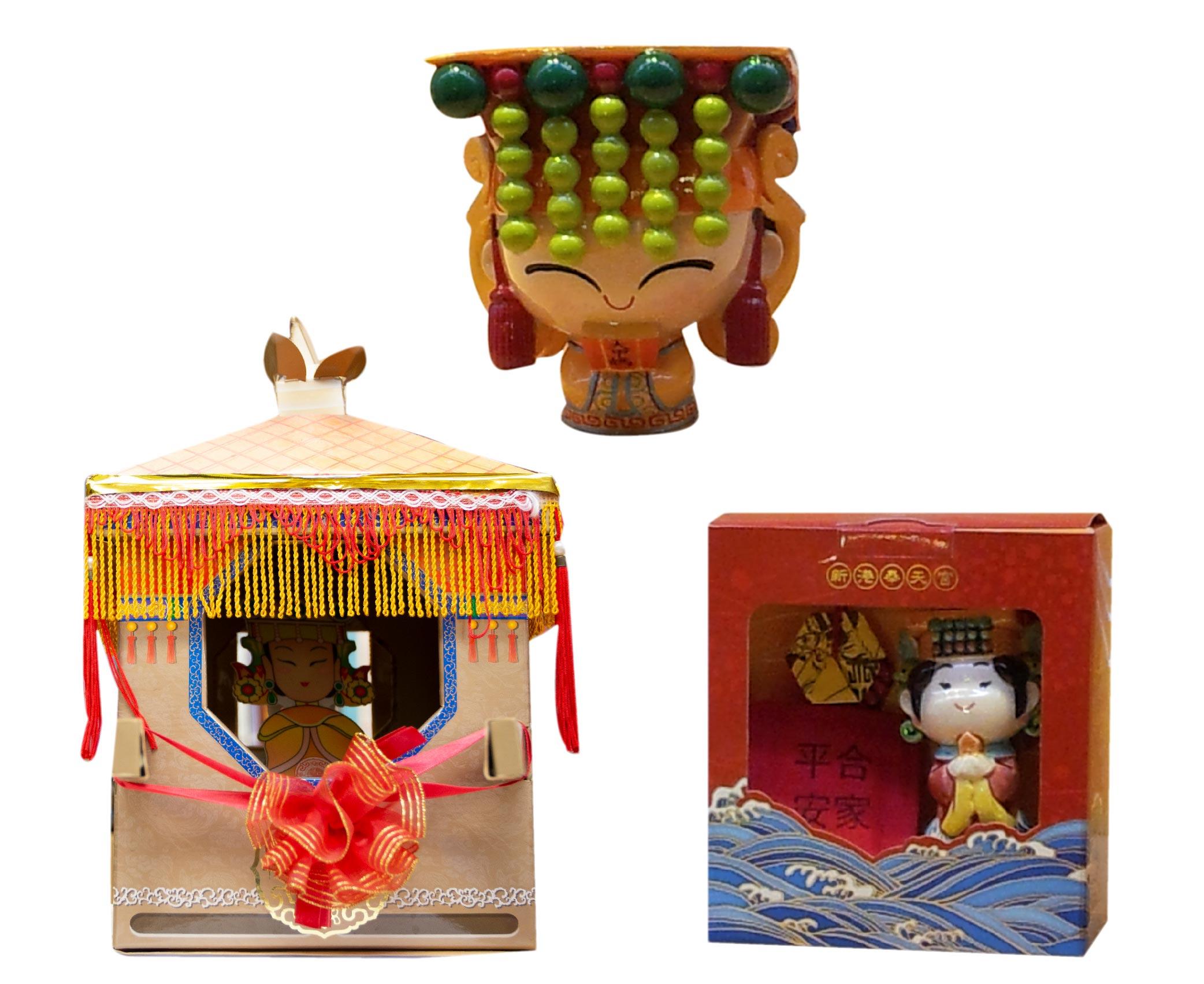 神明公仔、文創商品,是臺灣民間信仰的年輕化特色,包括鎮瀾宮、奉天宮都推出媽祖公仔與系列文創。圖│張珣