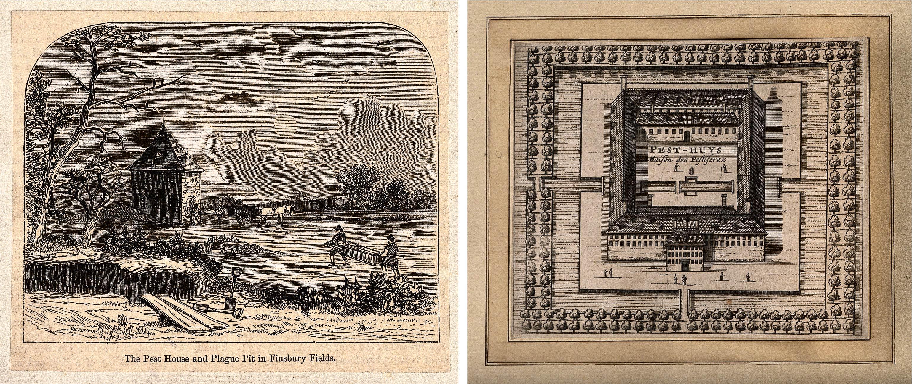 左圖為過去所有隔離簡易的木屋形式,後來也出現系統化、大規模建蓋,低樓層沒有窗戶、單一出入口,隔離所中間有活動空地,外圍則以河流、樹叢環繞,阻擋「瘴氣」飄散,右圖為近現代荷蘭萊頓的瘟疫收容所。圖│(左)Moorfields, London, Wiki /(右)Wellcome Library