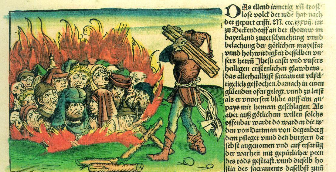 重大疾病的衝擊下,社會原有的弱勢或被拒斥群體,往往會成為「代罪羔羊」。黑死病期間,歐洲便有大量猶太人被殺害。圖│《紐倫堡編年史》