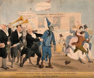 媒體傳播,也可能強化社會的恐懼。十九世紀霍亂蔓延,延燒速度更快的是報紙、廣播,搶在疾病到來前,媒體對染病者的敘事想像,造成大西洋東西兩岸的集體恐慌。圖中引發驚聲尖叫的骷髏,描繪的便是大眾心中的霍亂病人。圖│Henry Heath, Wellcome Collection