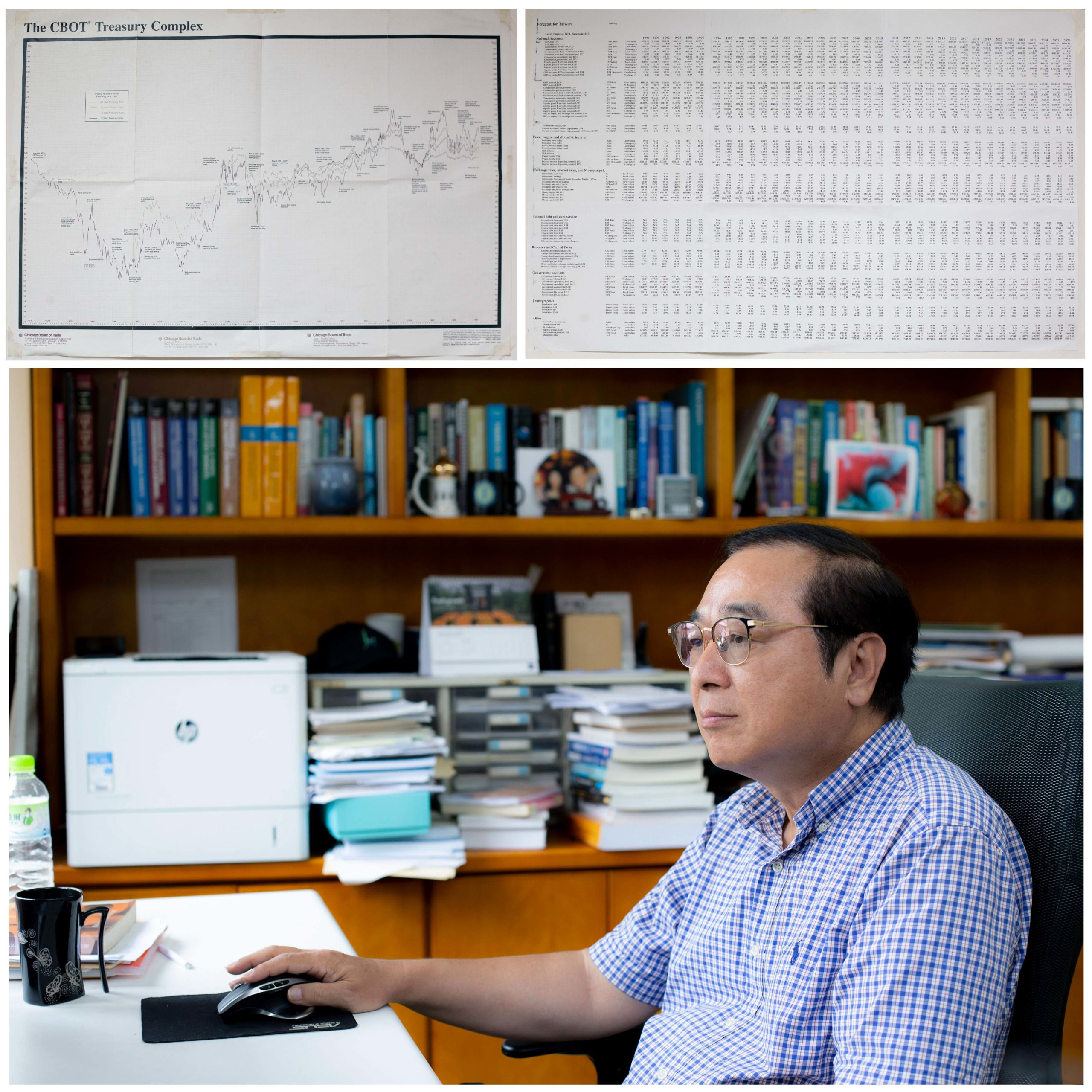 今年剛從研究員退休的周雨田,轉任兼任研究員,繼續為年底的經濟預測努力。走入辦公室,牆上貼著幾張描繪經濟走勢的圖表,一組組書櫃盡是經濟學相關書籍。每年影響台灣重大經濟政策、商業發展的報告,就出自這間看似尋常的研究室。圖│研之有物