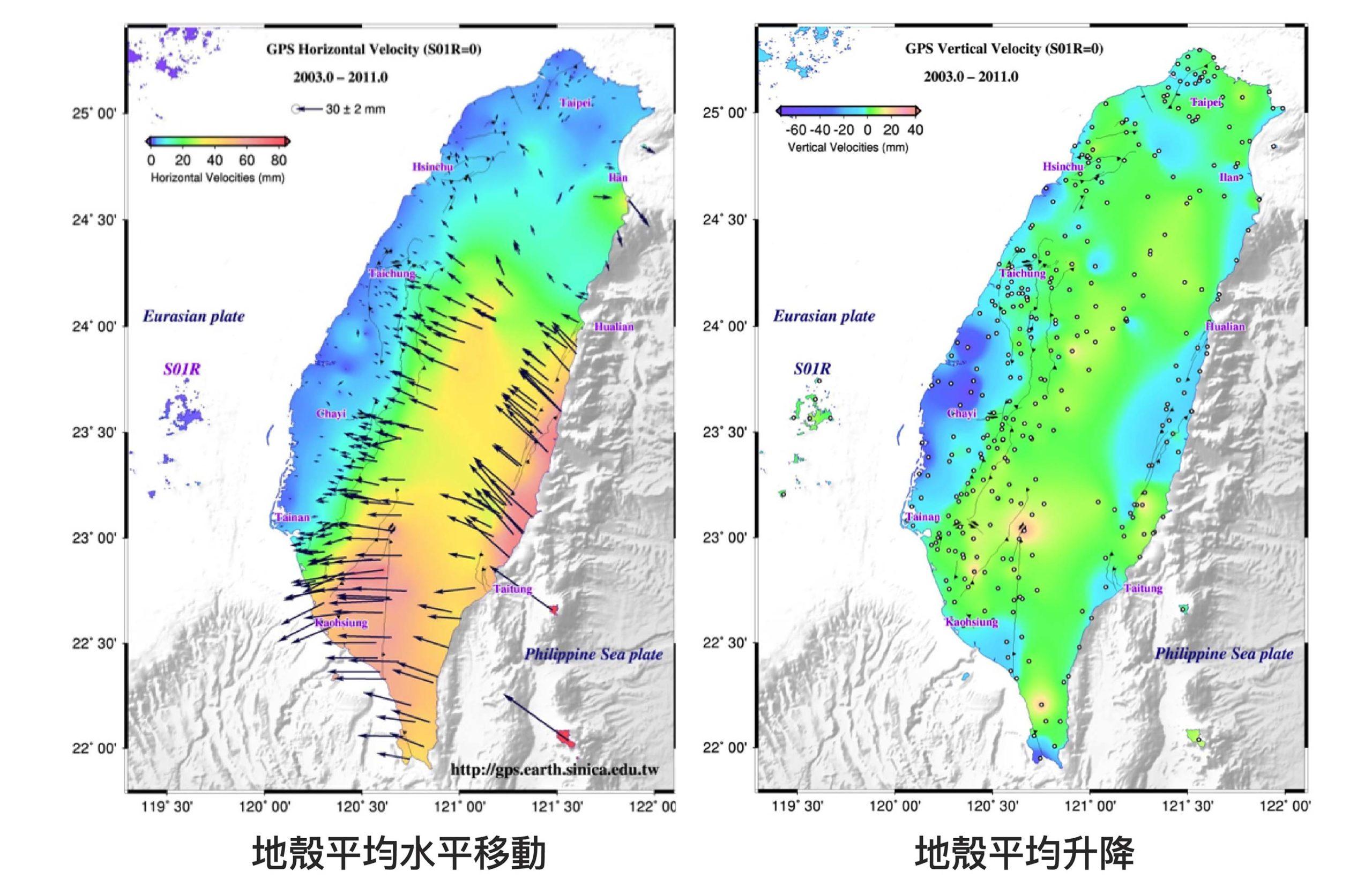 分析全臺各地 GPS 測站的座標變化,得出 2003-2010 年間臺灣地區的地殼變動。圖│臺灣地震科學中心