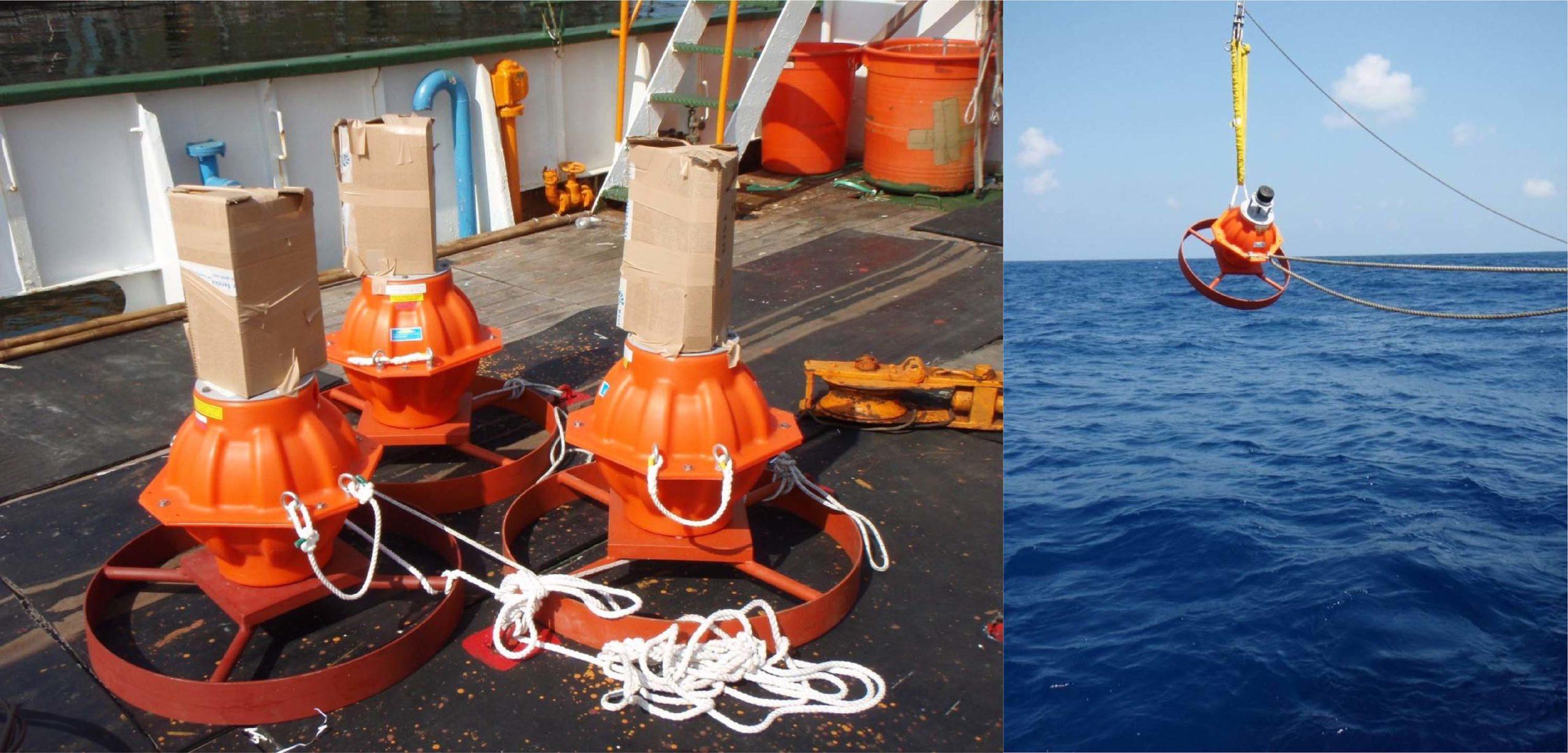 海床聲波回應器,將之放入海中。圖│許雅儒提供
