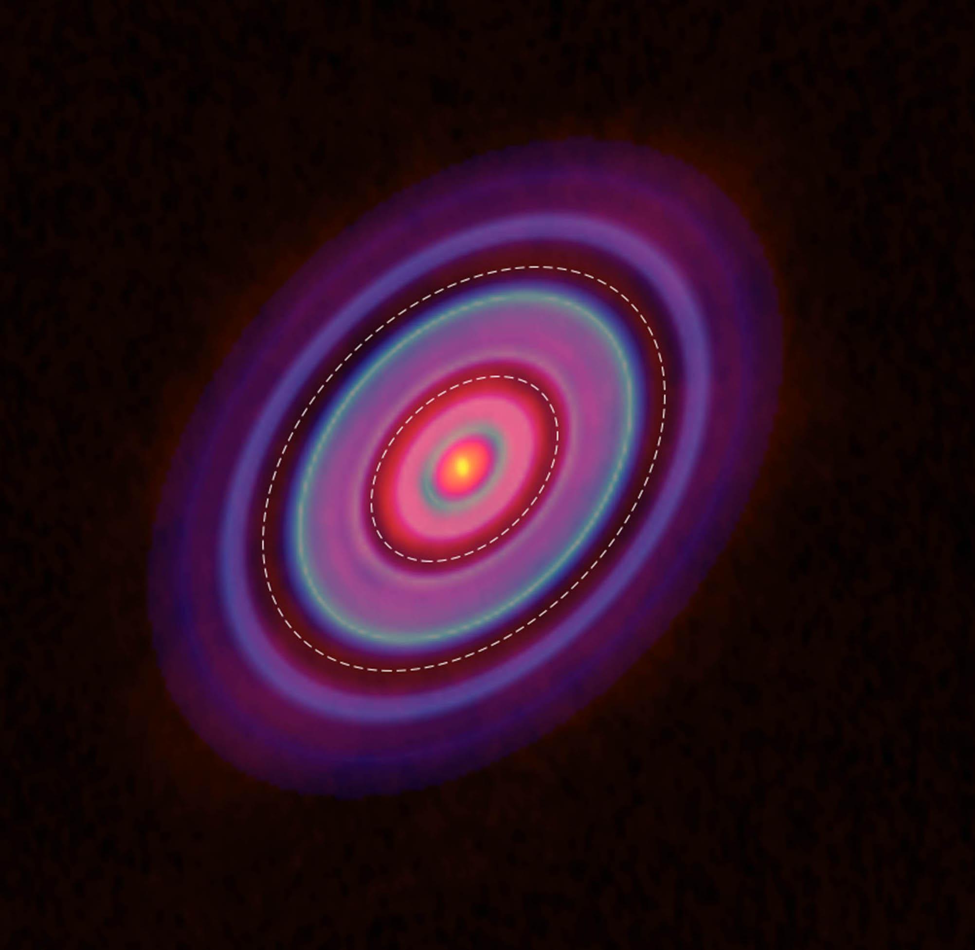 這張照片是拍攝分子譜線,得到金牛座 HL 原行星盤的氣體分布,同樣有環與間隙。圖│ ALMA (ESO/NAOJ/NRAO), Yen et al.