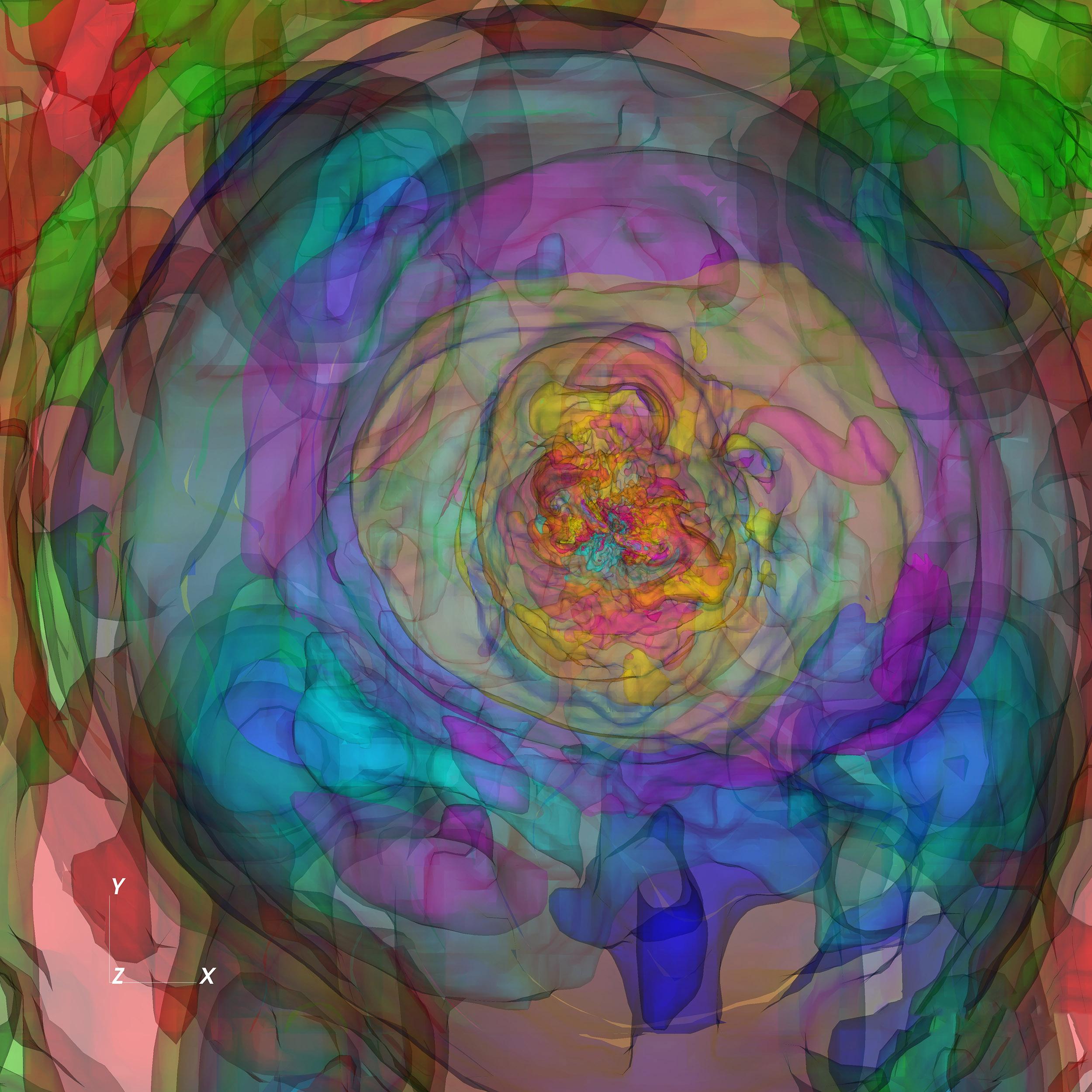 陳科榮以電腦模擬的磁星熱泡泡,不但可見大尺度範圍,也可見許多複雜的精細結構。圖│中研院天文所 陳科榮