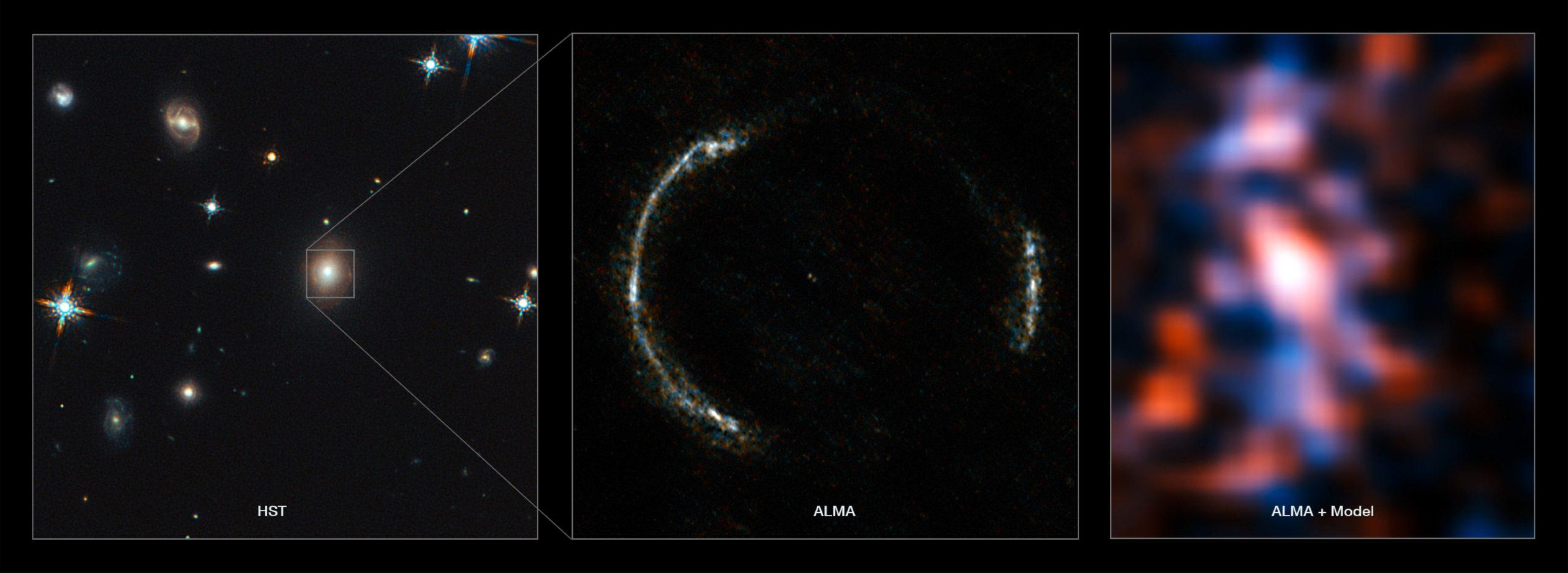 天文學家從 ALMA 影像(中)重建出背景星系的樣貌(右),目睹 120 億光年外的異世界。透鏡星系是橢圓星系,通常不會發出電波,所以在 ALMA 的波段可以不受透鏡星系干擾,清楚分辨來自背景星系的光。再加上 ALMA 有夠好的解析度和靈敏度,才能看清楚愛因斯坦環,並執行以上的計算。圖│ ALMA (NRAO/ESO/NAOJ)/Y. Tamura (The University of Tokyo)/Mark Swinbank (Durham University)。