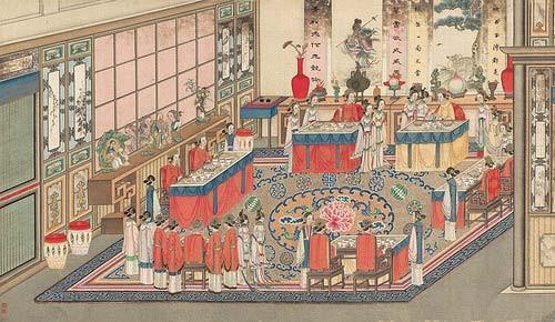 《紅樓夢》中,曹雪芹以細緻工筆描繪賈府興衰,若與清宮檔案兩相對照,更能看懂大宅門裡奢華揮霍的起居用度、精細排場。圖│清代,孫溫繪
