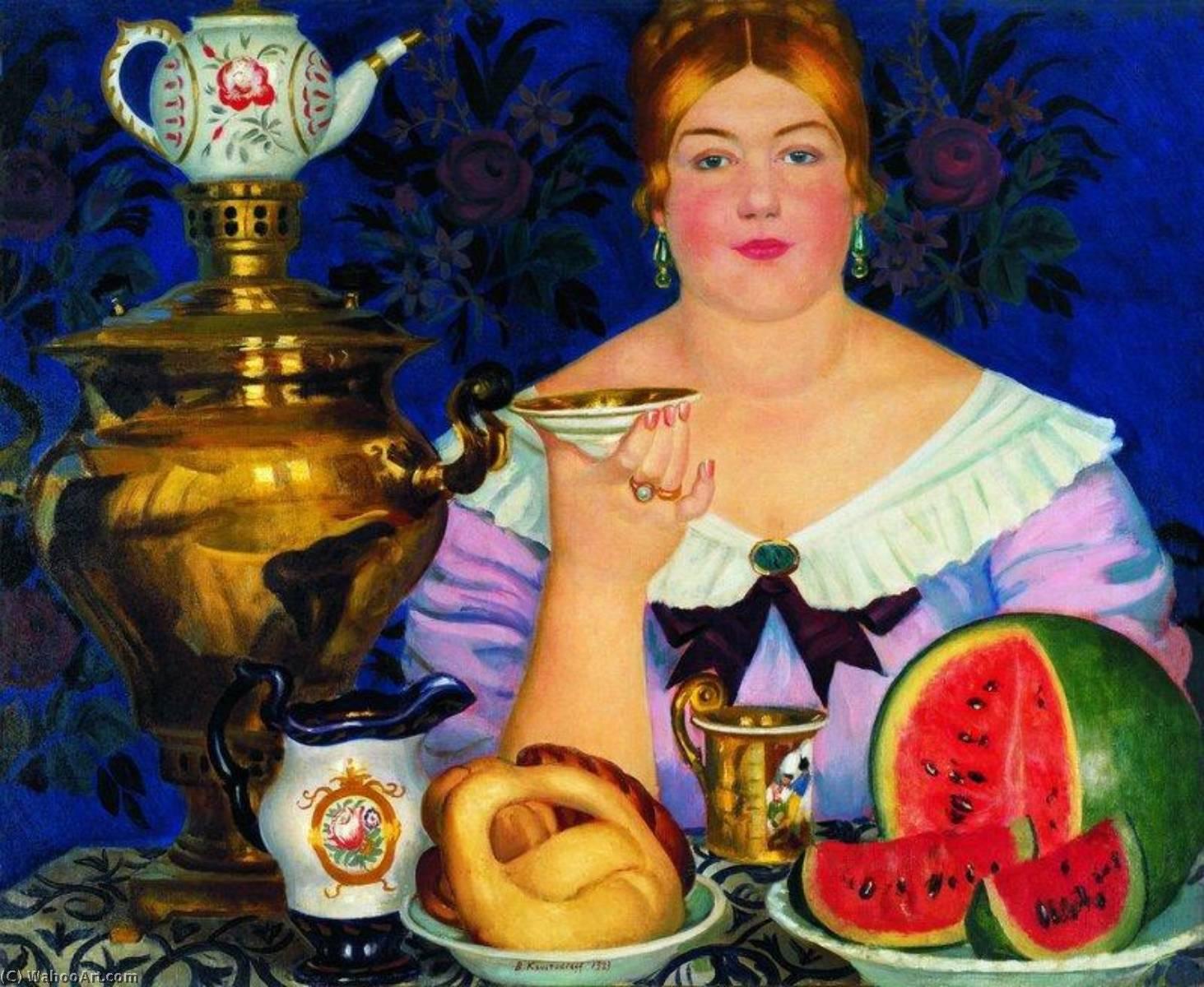 十七世紀,莫斯科商人開始從中國進口茶葉,康熙年間還簽訂長期貿易協定。福建武夷山的茶葉,得經過萬里漫漫長路運輸,價格昂貴,喝茶成為俄國上流社會的身分象徵。圖│Boris Mikhaylovich Kustodiev,1918