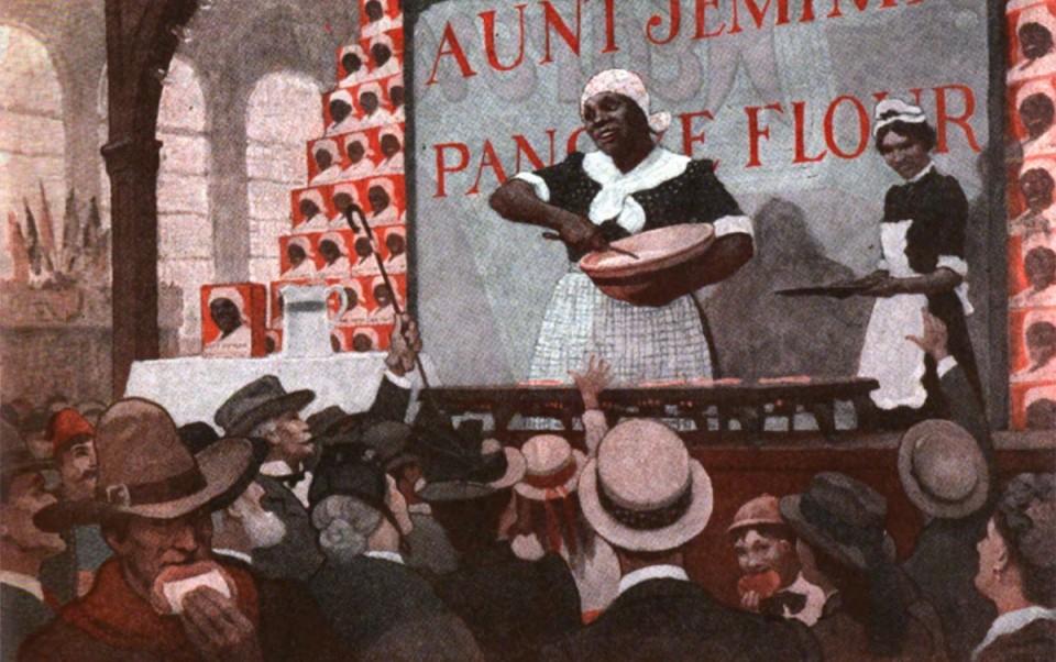 南西⸳格琳(Nancy Green)在 1893 年萬國博覽會上,被聘用扮成傑米姨,宣傳南方。傑米姨形象後來成為桂格鬆餅廣告商標,黑人姆媽形象也經常被製作成黑人玩偶,或以丑化之姿呈現在影視漫畫中。圖│Saturday Evening Post