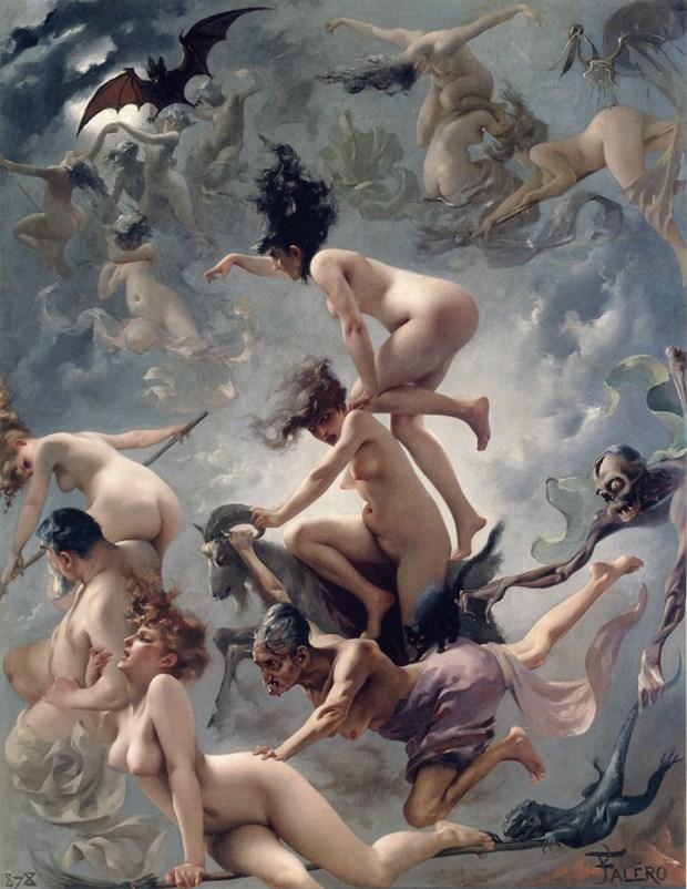 恐性、厭女是另一個共同根源。毒藥貓越年輕美艷越毒,西方女巫常被指控放浪偷歡,父權社會對女性的身體、貞潔抱持不安,因而也常透過貶抑,維繫某種對「潔淨」的管控。圖│Luis Ricardo Falero,1878