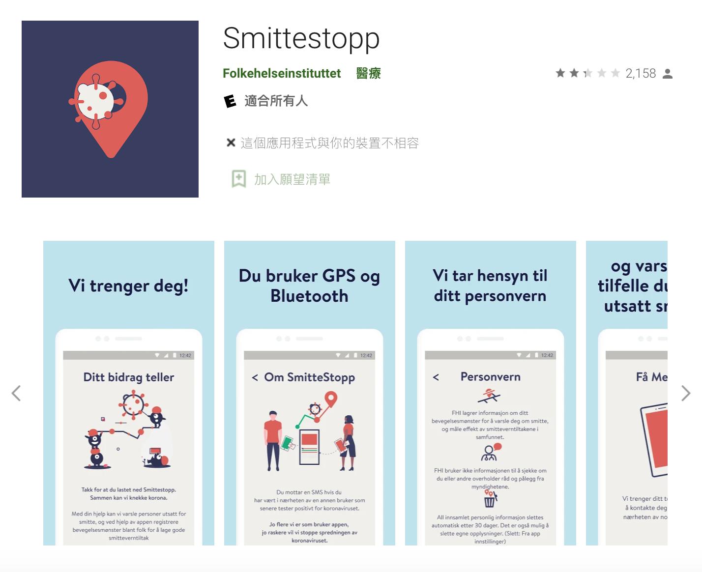 挪威開發了「Smittestopp」,可透過 GPS 與藍牙定位來追蹤用戶足跡,提出與感染者曾接觸過的示警,定位資訊也會上傳到中央伺服器儲存。然而,挪威資料保護主管機關(NDPA)宣告,程式對個人隱私造成不必要的侵害,政府應停止使用並刪除資料。圖│Google Play畫面
