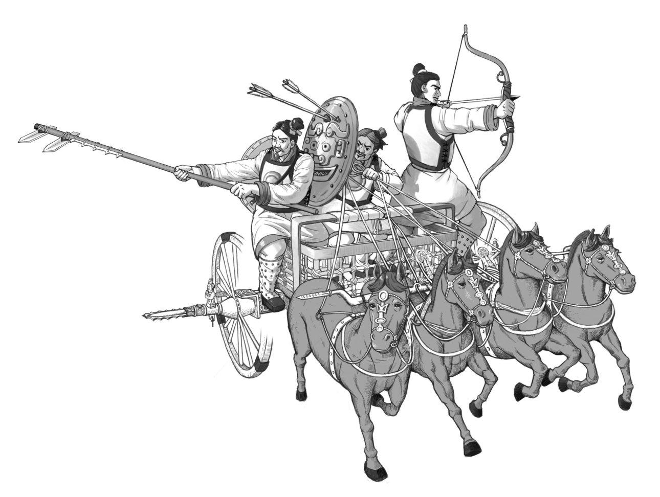 殷商時期馬車很稀少,推測是從歐亞草原傳入。死對頭周人從草原民族吸收造車技術,成為大戰時的秘密武器,一舉擊潰商軍,牧野之戰也就此揭開了車戰時代的序幕。圖為西周車戰示意圖。圖│中研院歷史語言研究所
